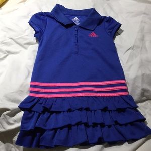 Adidas 3t ruffled dress blue hot pink worn once